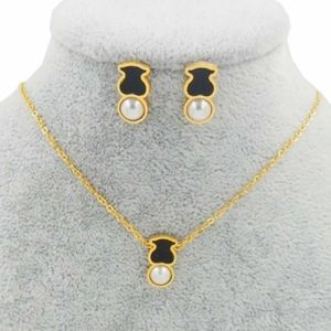 Tous Jewelry Set - Black Bear and Pearl
